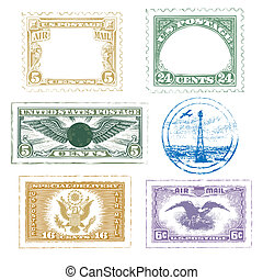 Air Mail Stamps Icon Set - air mail stamps icon set vector...