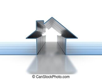 Houe 3d symbol - Real estate concept 3d render of blue house