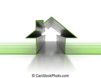 House symbol 3D - Real estate concept 3d render of geen...