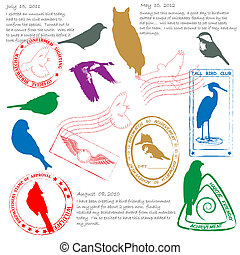 Bird Watching Stamps Icon Set