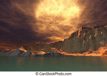 Rudes Seascape - A huge sun shines through dense brown...