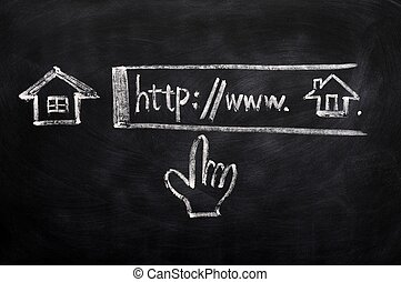 Click for Homepage sign drawn with chalk on a blackboard