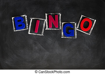 BINGO on a blackboard - Word of BINGO made of color letters...