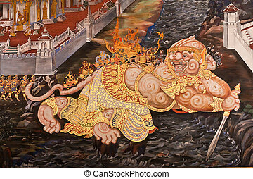Masterpiece Ramayana painting in temple in Thailand -...