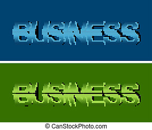 business text in two background color, blue & green.