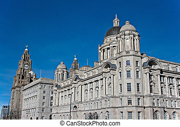 View of Liverpool waterfront - Liver Buildings on Liverpool...