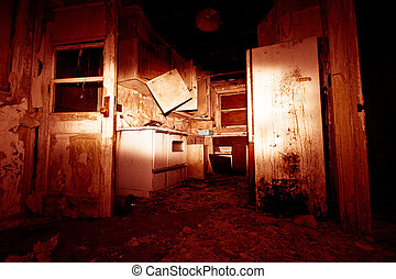 Red Horror Kitchen - Red, horror kitchen in abandoned hom
