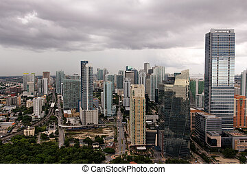 Shiny Miami under Stormclouds - A view of Brickell, Miami's...