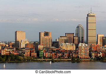 Boston Back Bay Skyline - View of the Boston, MA Skyline of...