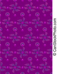 Purple leaves and circles on a viol - Dark violet background...