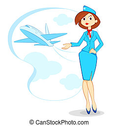 Air Hostess - vector illustration of air hostess with...