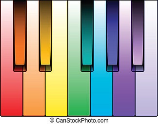 Piano Keyboard Octave - Vector Illustration of Colored Piano...