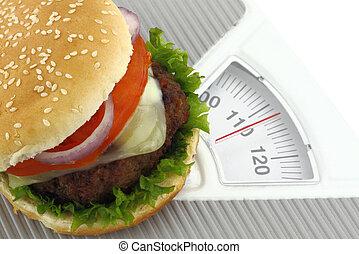 hamburguesa, peso, escala