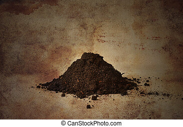 Pile of soil with a vintage look.