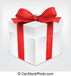 Gift Box on Grey Gradient Background. Vector Illustration.