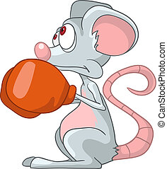 Cartoon Character Mouse Boxer Isolated on White Background...