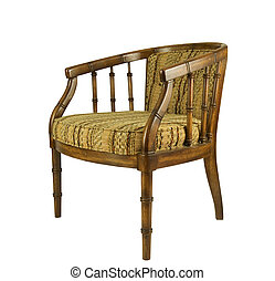 aged brown upholstered chair