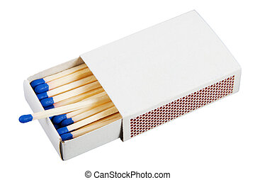 Box with matches - White box with matches over a white...