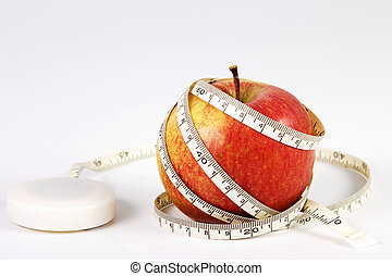 Apple with measuring tape - Red apple with measuring tape...
