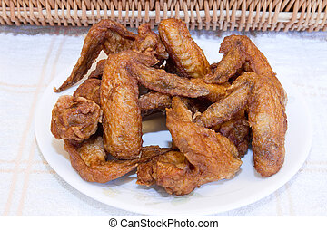 Plate of Deep Fried Chicken Wings by Picnic Basket