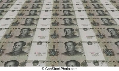 Printing Money Animation,1 RMB bills.