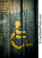 Spray-painted Person in Wheelchair Symbol - Symbol of person...