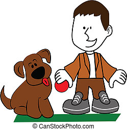 boy and dog playing catch - cartoon graphics of boy with his...