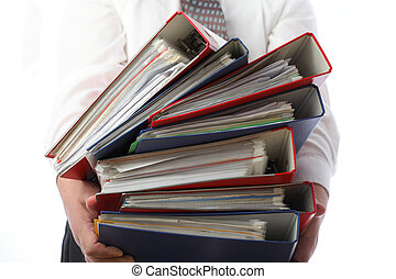 man holding stack of folders - Isolated - man holding stack...