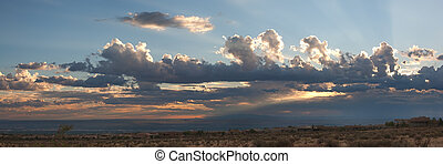 Storm Sunset over Albuquerque - Panorama of dramatic sunset...
