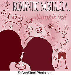 Romantic nostalgia background with  silhouettes