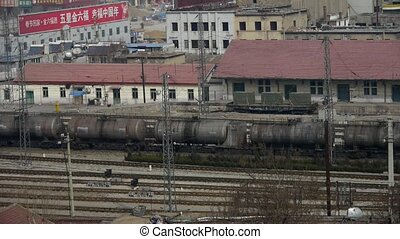Long tank train traveling on railway in china,After railway...