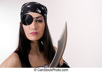 Captain One Eye - A pirate woman with her blade