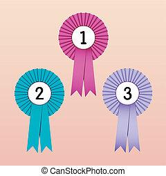Award Ribbons - Vector Illustration of Award Ribbons 1st,...