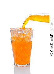 Orange Soda Pouring into Glass of Ice - Closeup of a bottle...