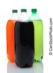 Three Two Liter Soda Bottles Over White