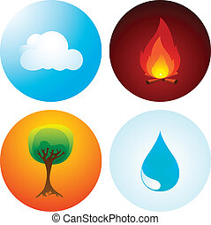 Four Elements - Vector Illustration of the Traditional Four...