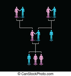 Human Family Tree - Vector Illustration of Family Tree of...