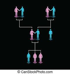 Human Family Tree - Vector Illustration of Family Tree of...