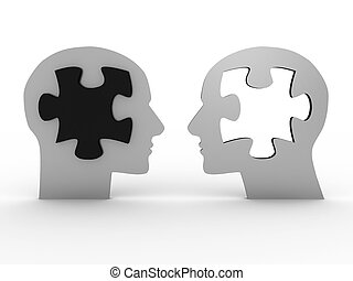 Two heads with a puzzle 3D image