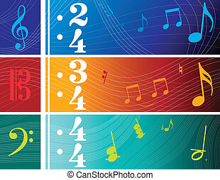 Music Banners - Vector Illustrations of Clef Based Banners...