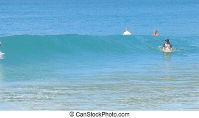 surfer - Man Surfed on Blue Ocean Wave