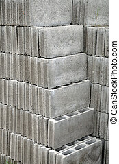 Grey bricks used for building a house
