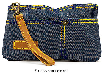 Pouch of denim on a white background