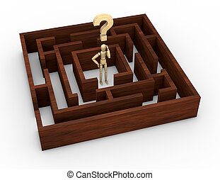 solve a problem - one wooden maze with a wooden dummy and a...