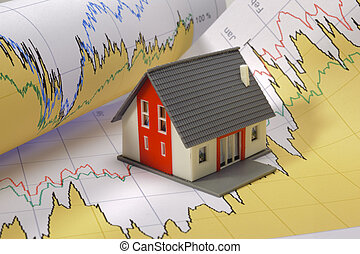 model house on financial business chart
