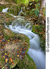 Waterfall at Plitvicka Jezera - Waterfall in the forest at...