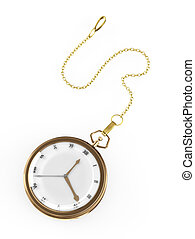 Pocket watch isolated on white. 3d rendered image