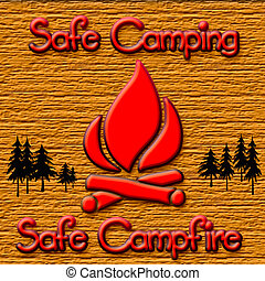 campfire safety sign - wooden frame with campfire symbol...