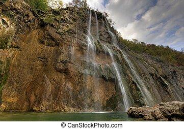 Waterfall at Plitvicka Jezera - Plitvice - Waterfall in the...