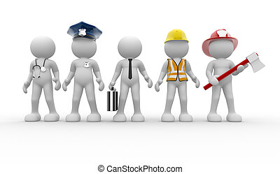 Different professions - 3d people - human character, person...